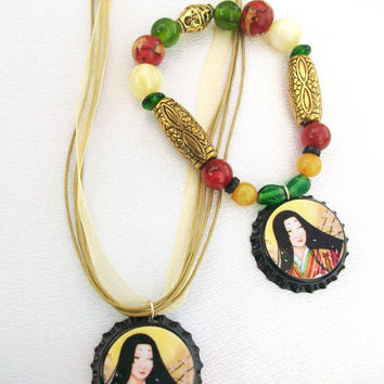 Asian Woman Bottle Caps Beads Necklace & by thebagladyboutique1