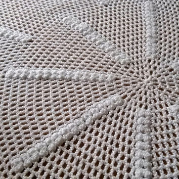 Vintage tablecloth knitted crochet 1980s, Crochet, lace tablecloth, Vintage tablecloth, Vintage crochet,  Womens lace, Handmade, tablecloth