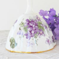 Hammersley Victorian Violets Collectible Bell, English Bone China, Bridesmaid Inspired Gift, Cottage Style
