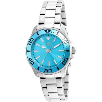Invicta Women's 21539 Pro Diver Quartz 3 Hand Light Blue Dial Watch