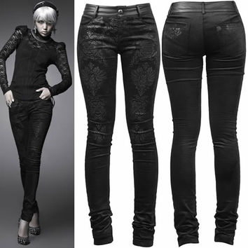 Black Floral Slim Fit Gothic Burlesque Clothing Pants Leggings Women SKU-11404273