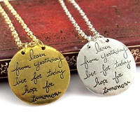 Gold and silver LIVE THE LIFE YOU LOVE Quote Double Side Pendant Necklace FREE Shipping