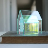 Nesting houses set of 2 - glass look and iridescent little structures - mini meeting architectures