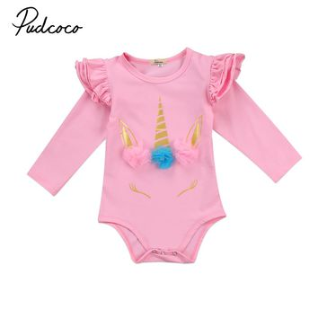 Pudcoco Toddler Infant Kids Baby Girls Cotton Unicorn Romper Long/Short Sleeve Summer Autumn Clothes Outfits One-Piece
