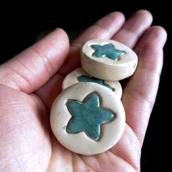 Beads- Set of three coin ceramic beads- Green and cream jewelry/craft suppllies- Beading- Large beads for necklaces, mobile...