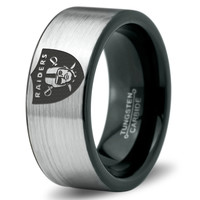 Oakland Raiders Ring Mens Fanatic NFL Sports Football Boys Girls Womens NFL Jewelry Fathers Day Gift Tungsten Carbide 230B