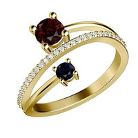 Red and Blue Round CZ Stud sterling silver wedding Ring For Her with free ship