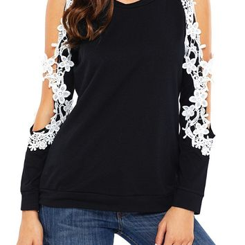 Chic Black Lace Trim Cold Shoulder Long Sleeve Top