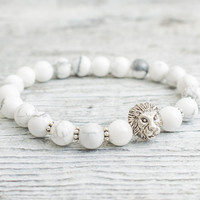 White howlite beaded silver Lion head stretchy bracelet, made to order yoga bracelet, mens bracelet, womens bracelet