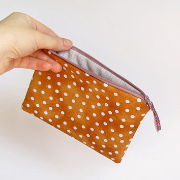 Brown Zipper Pouch, Lavender Polka Dot Cosmetic Bag, Terracotta Wallet, Burnt Orange Make Up Bag, Bridesmaid Gift