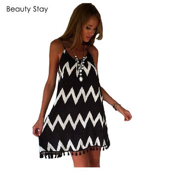 BeautyStay Summer Plus Size Spaghetti Strap Dress Cotton Loose Wave Pattern Water Ripple Printed Mini Sexy Beach Casual Dresses