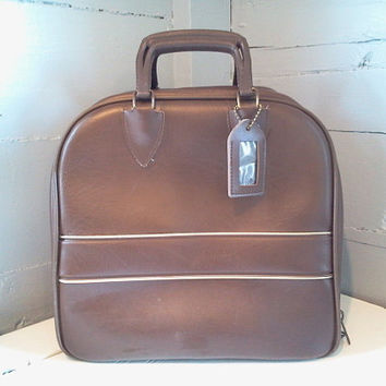 Vintage Bowling Bag, Brown and Gold