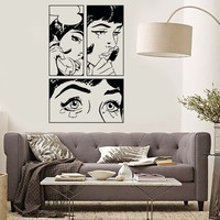 Wall Sticker Sexy Girl Woman Teen Crying Cool Pop Art Bedroom Unique Gift (z2591)