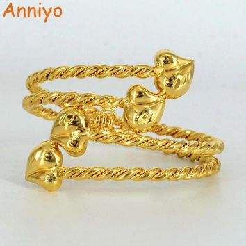 Anniyo Gold Color Ethiopian Bangle For Women Heart Dubai Bracelet Jewelry African Arab Accessories Gifts #061006