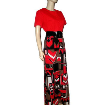 Authentic French Vintage 70s ROGER et FRERES Paris Red Op Art Print Maxi Dress M-L+