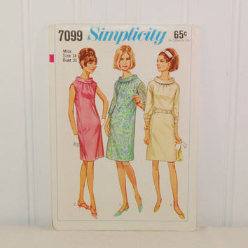 Vintage Simplicity 7099 One Piece Dress (c. 1967) Misses' Size 14, Bust Size 34 Inches, Retro Dress, Vintage Style, Knee Length Dress