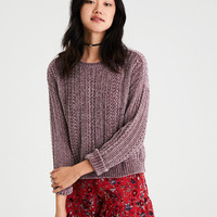 AE Lightweight Chenille Pullover Sweater, Purple