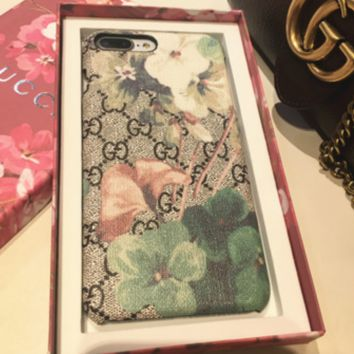 Gucci Printed cell phone shell, iphone 6S hard shell blue iphone7 magpie color printing 8p