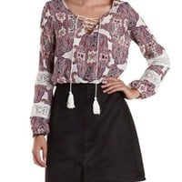 Ivory Combo Paisley Print Lace-Up Neck Top by Charlotte Russe