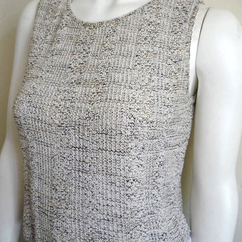 Vintage Women's 80's Knit, Top, Cropped, Sleeveless, Cotton by Riba Rose (S/M)