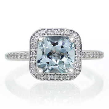14K White Gold Cushion Cut Aquamarine Diamond Halo Engagement Ring
