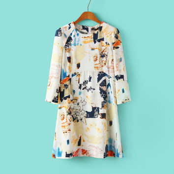 Autumn Print Three-quarter Sleeve Skirt One Piece Dress [4917785092]