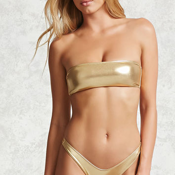 Metallic Hi-Cut Bikini Bottoms