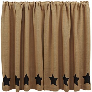 Burlap with Black Stars Tier Curtains 36""
