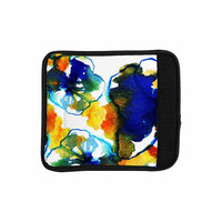 """Sonal Nathwani """"Blue Orange Floral"""" Abstract Watercolor Luggage Handle Wrap"""