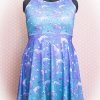 Deep Creeps (Gulper Eel, Goblin Shark, Hatchet Fish) Printed Skater Dress Fairy Kei Pastel Goth Kawaii
