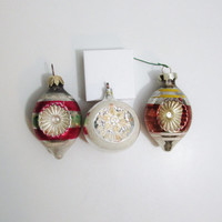 Vintage Christmas Ornaments: Trio of Glass Indent Ornaments