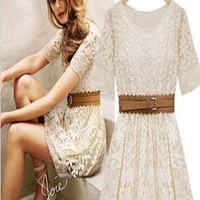 Fashion Embroidered Short-sleeved Lace Dress from styleonline