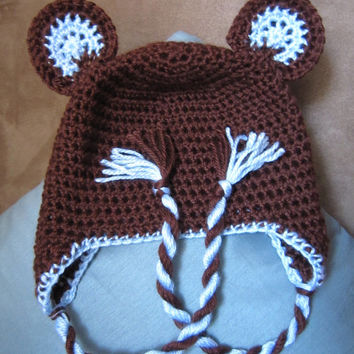 Bear Beanie with Earflaps and Twisties- Chocolate Brown and Baby Blue