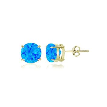 Gold Tone over Sterling Silver Created Blue Opal 4mm Round Stud Earrings