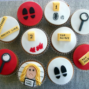 12 Spy Party Fondant Cupcake Toppers, Police Party Cake Cookie Fondant Toppers,Spy Birthday Edible Decoration, Police Cupcakes