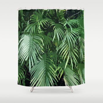 Jungle Palms - Shower Curtain, Beach Surf Tropical Green Palm Tree Fronds Hanging Vanity Bath Tub Curtain Accent. Available in 71x74 Inches