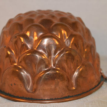 Copper Round Petal Jello Mold Vintage Copper Tin Lined Baking Pan Copper Wall Hanging Farmhouse Kitchen Copper Collectible Rustic Mold