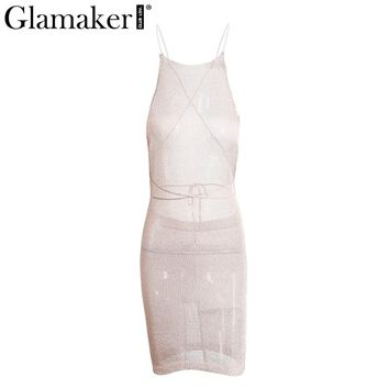 Glamaker Backless transparent knitted women dress Sexy lace up slim bodycon dress Elegant hollow out party club dress vestidos