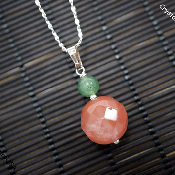 Faceted Cherry Quartz Necklace  - Tiny Silver Stone Necklace - Cherry Stone Jewelry - Yoga Necklace - Children Jewelry - Gift For Mom Forher