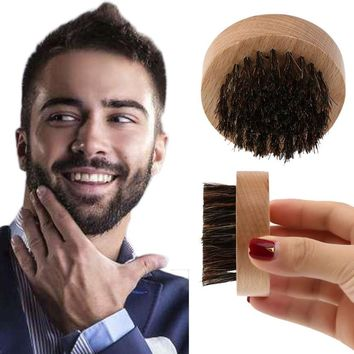 Men Wood+Boar Hair Beard Brush + Facial Hair Comb