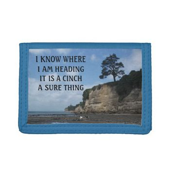 Cinch Photo Quote by Kat Worth Trifold Wallet