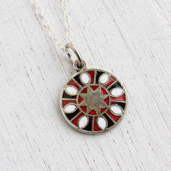 Vintage 8-Pointed Star Hex Sign Necklace - 1970s Sterling Silver Folk Enamel Jewelry / Abundance & Goodwill
