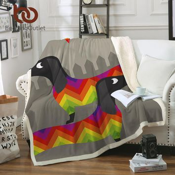 BeddingOutlet Dachshund Sausage Sherpa Blanket on Beds Kids Cartoon Plush Throw Blanket Sofa Cover Rainbow Puppy Thin Quilt