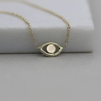 14k solid gold evil eye  necklace good luck necklace