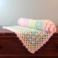Knitted Vintage Baby Blanket Afghan Pink Yellow Throw Pastel Bedding Nursery Decor