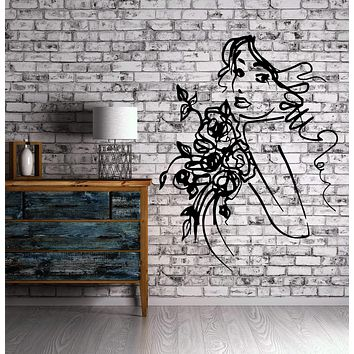 Sexy Young Girl Face Sketch with Flowers Wall Art Mural Vinyl Decal Sticker Unique Gift M623