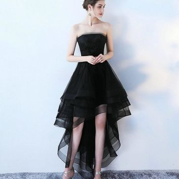 Elegant Black Prom Dresses 2017 New Sexy Strapless Lace-Up Beach Built-In Bra Formal Women Evening Gowns Custom Made Prom Dress