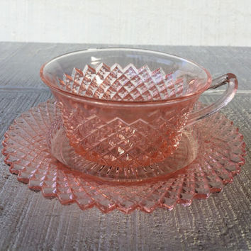 Vintage pink depression glass cup and saucer Miss america by Anchor Hocking, depression glass cup and plate, diamond depression glass