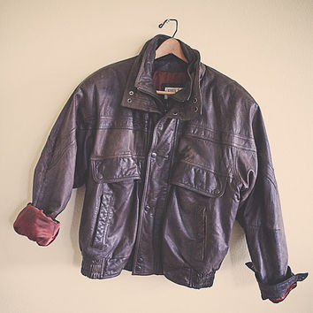 Vintage Bomber Brown Leather Jacket Brown Green Trim  Men's Size Large Insulated Fully  Lined Flight Coat