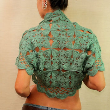 $110 Aquarius Dreams / Crochet Jade Shrug Bolero / Short by lilithist